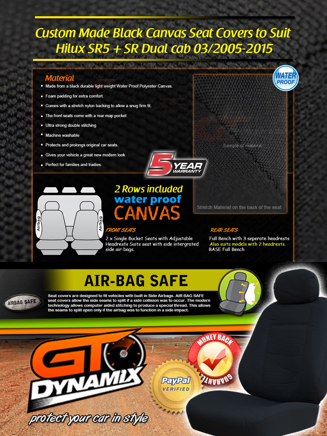 Custom BLACK Canvas Seat Covers To Suit TOYOTA HILUX SR5 F