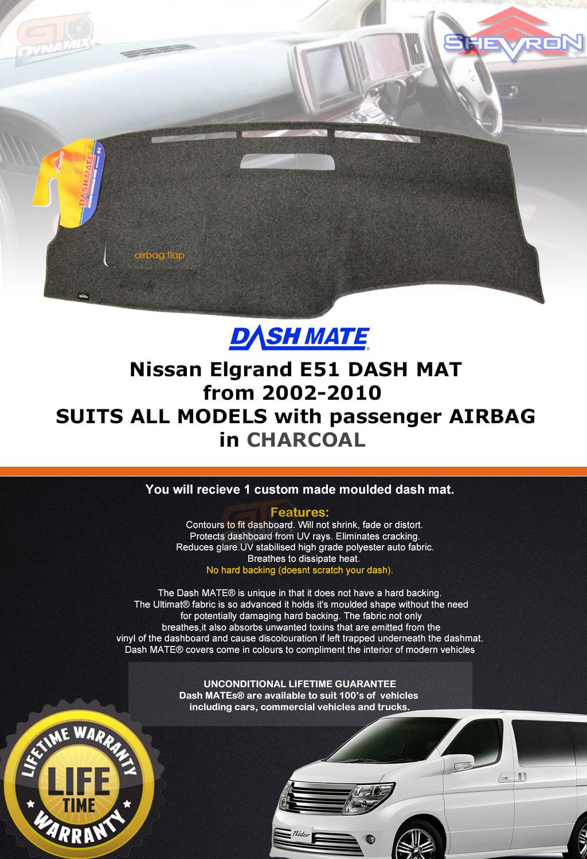 BLACK Dashmat for NISSAN Elgrand E50 1//1997-12//2002 Dash Mat DM1256