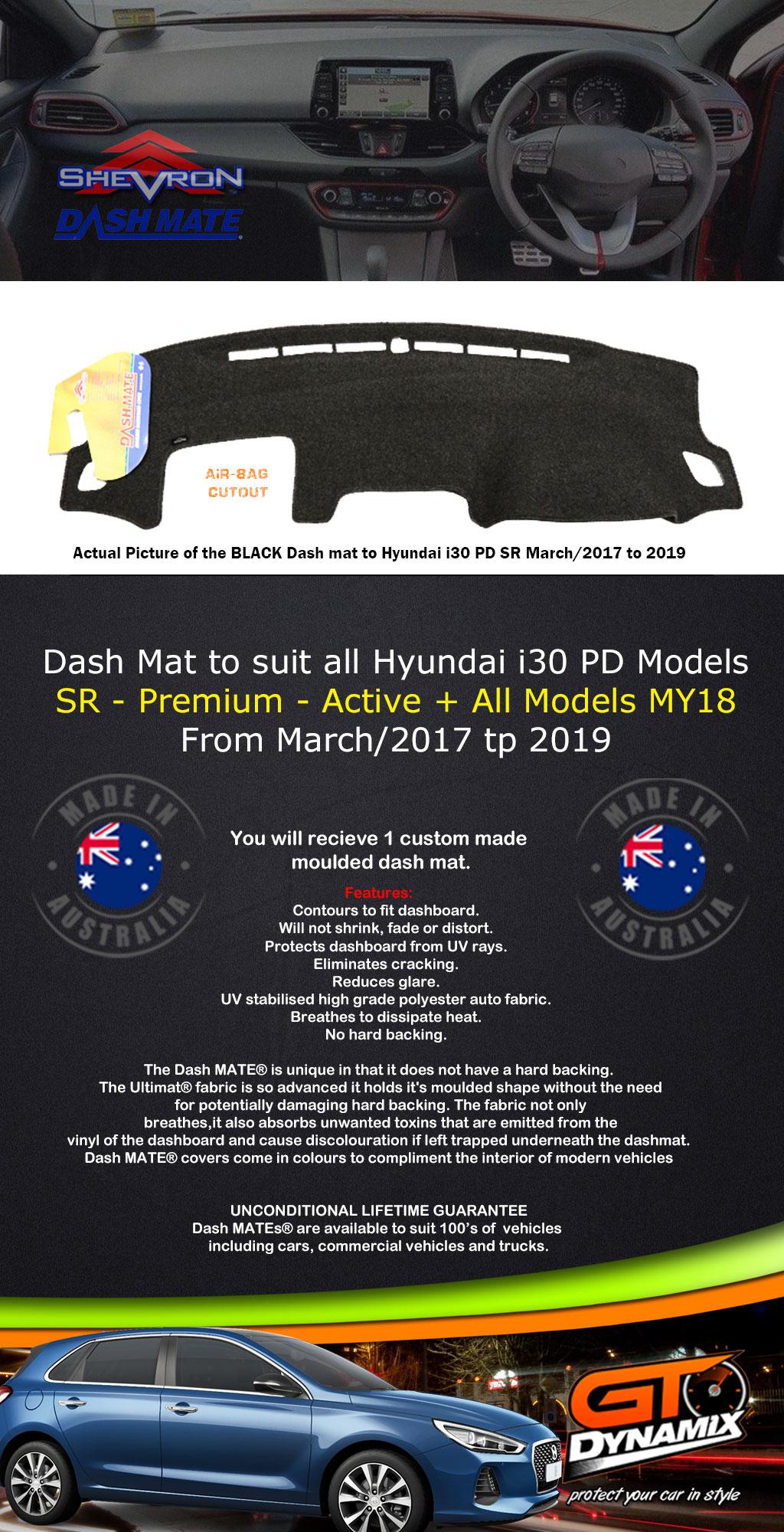 dash mat hyundai i30 hatch pd sr premium active my18. Black Bedroom Furniture Sets. Home Design Ideas