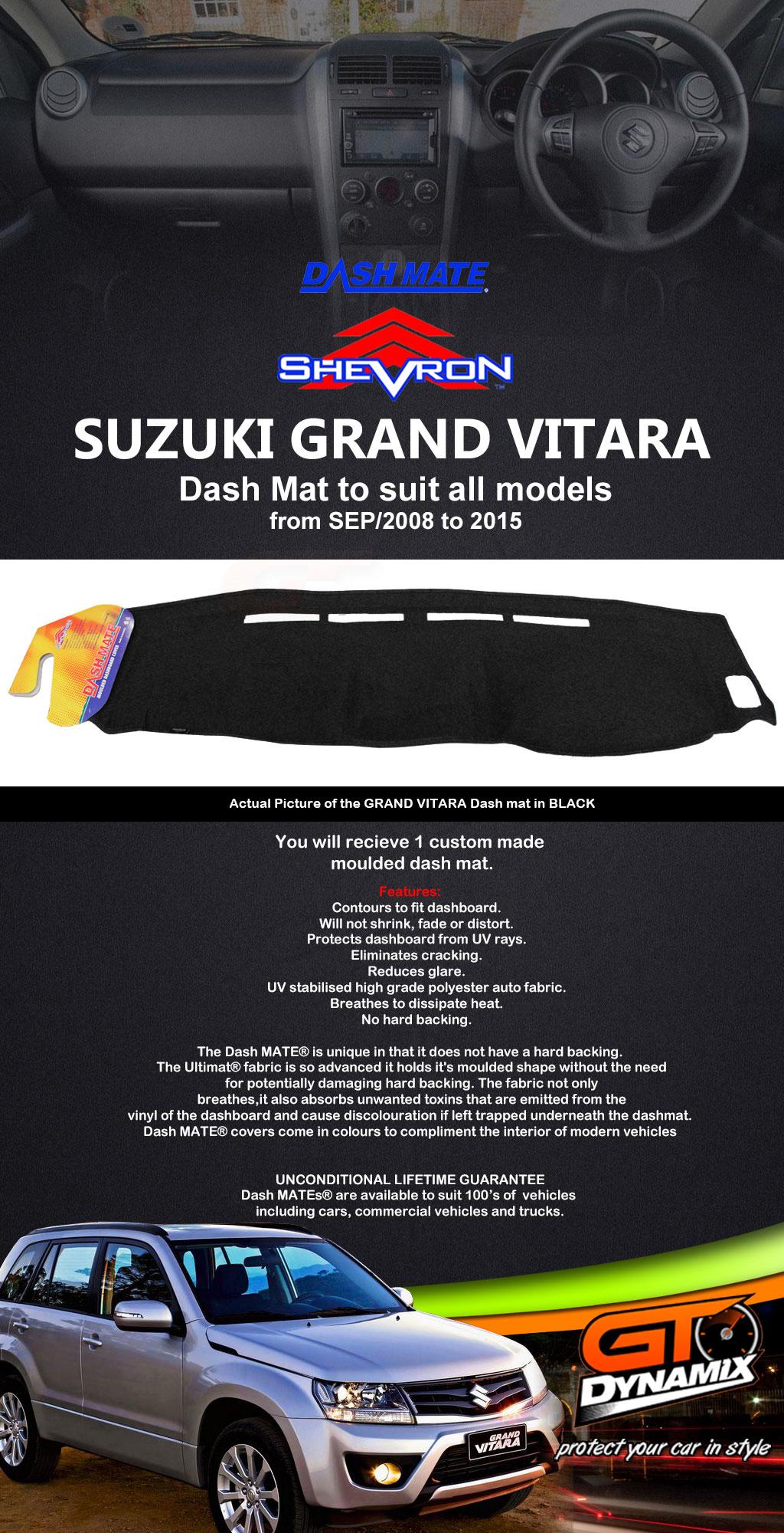 DASH MAT Suzuki GRAND Vitara Suits ALL Models SEP/2008 to 2015 BLACK ...