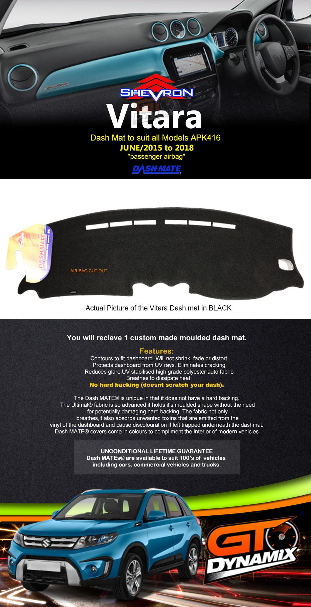 Dash mat SUZUKI VITARA All Models APK416 LY RT-S/RT-X 6/2015-2018 ...