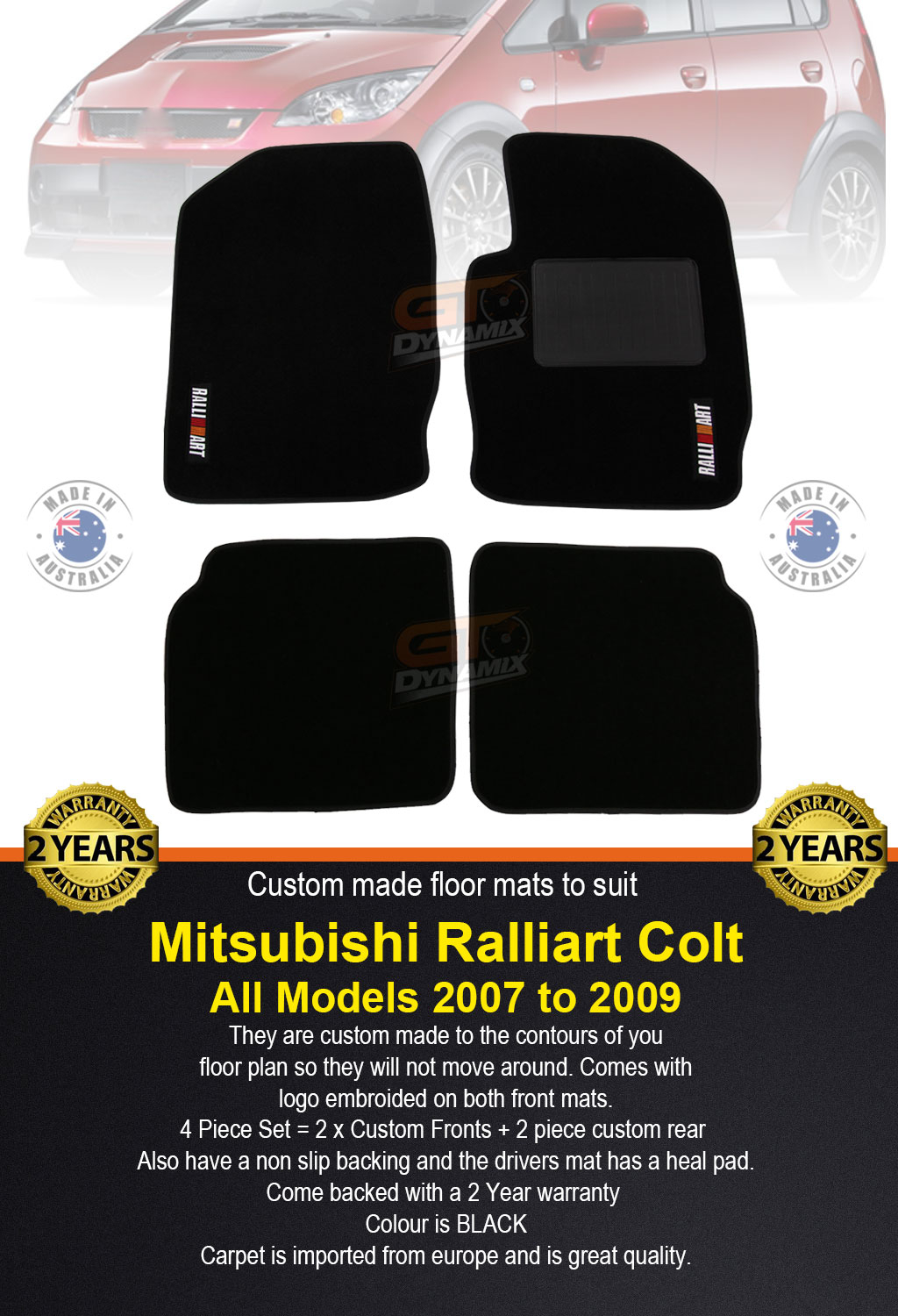 Mitsubishi Ralliart Colt Rg Custom Made Floor Mats Front