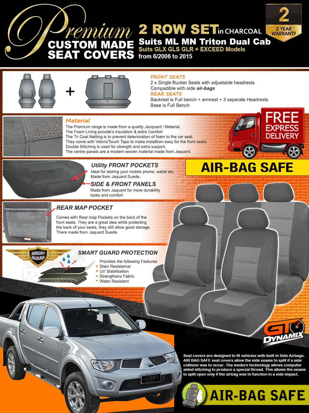Premium Charcoal Seat Covers Mitsubishi Triton Mn Ml Dual