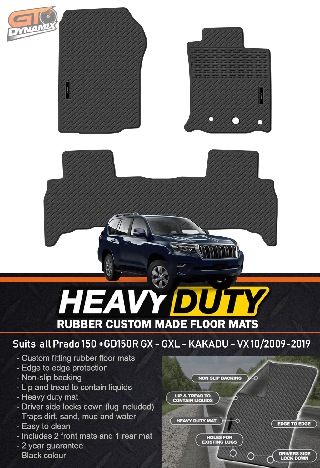 Custom Hd Rubber Floor Mats For Toyota Prado 150 Gx Gxl Vx