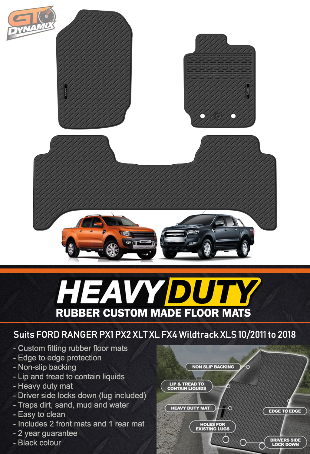 Custom Hd Rubber Floor Mats Ford Ranger Px1 Px2 Px3 Mk3